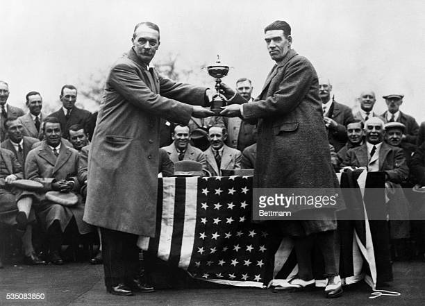 5/7/29Moortown Leeds England Mr Samuel Ryder donor of the Ryder Cup as he appeared presenting the golf tourney to George Duncan Captain of the...