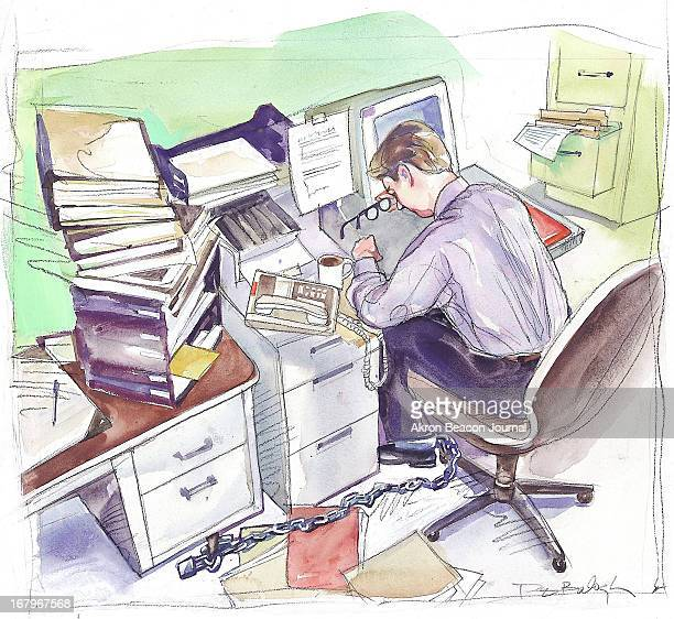 57p x 52p Dennis Balogh color illustration of exhausted office worker chained to his desk.