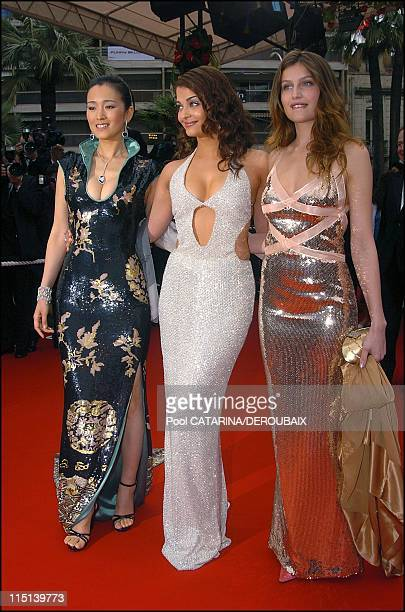 57th Cannes Film Festival Opening ceremony France on May 12 2004 Gong Li Aishwarya Rai Laeticia Casta Gong Li dressed by Tom Ford for Yves Saint...