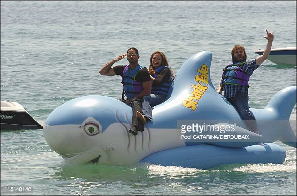 57th Cannes Film Festival Photocall of Shark Tale in Cannes France on May 14 2004 Will Smith Angelina Jolie and Jack Black voices for the animated...