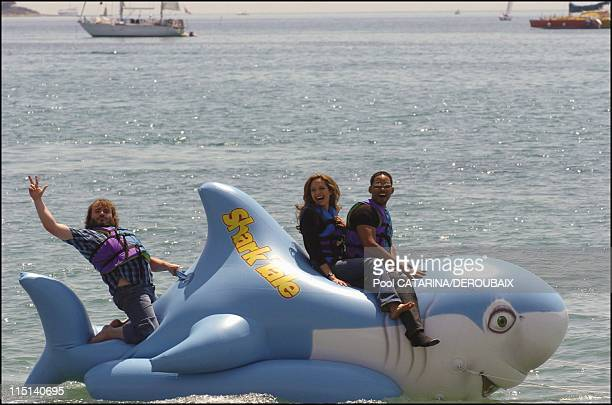 57th Cannes Film Festival Photocall of Shark Tale in Cannes France on May 14 2004 Jack Black Angelina Jolie and Will Smith voices for the animated...