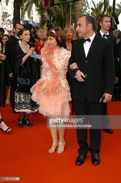 57th Cannes Film Festival Stairs of 'Zivot je cudo' in Cannes France on May 14 2004 Ariane Ascaride with a friend