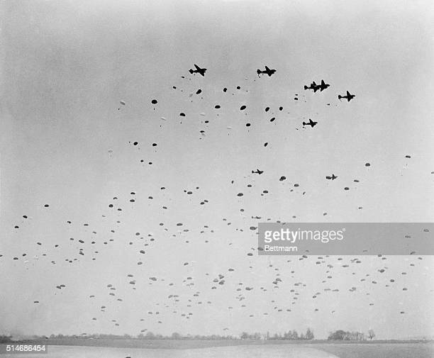 England: A sight similar as this will greet the Axis eye when the Allies actually begin the invasion of Fortress Euroda. C-47 planes of a U.S....