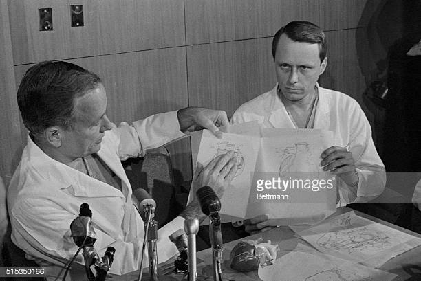5/8/1968Houston TX Dr Denton Cooley tells a press conference here May 3rd how he and a team of physicians transplanted the heart of a 15yearold girl...