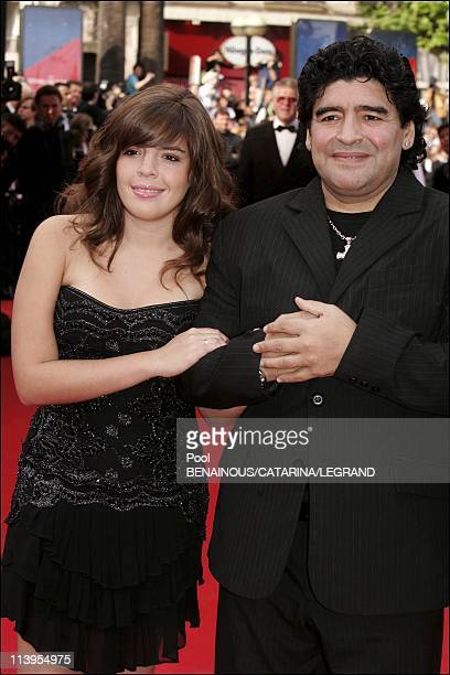 58th Cannes Film Festival Arrivals at the closing ceremony In Cannes France On May 21 2005Maradona and daughter Dalma