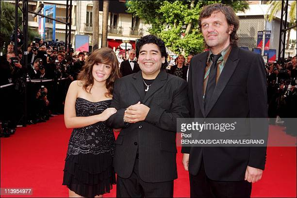 58th Cannes Film Festival Arrivals at the closing ceremony In Cannes France On May 21 2005Maradona daughter Dalma and Emir Kusturica