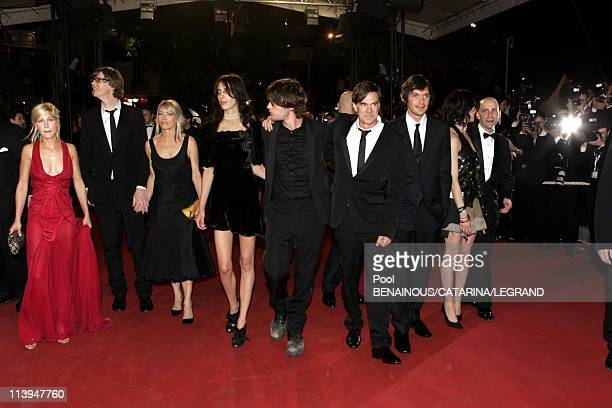 58th Cannes Film Festival Stairs of Last days In Cannes France On May 13 2005Cast of Last days unidentified woman Sonic Youth's Thurston Moore Kim...