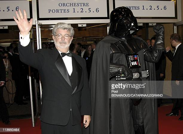 58th Cannes Film Festival Standing ovation for Star Wars Episode III Revenge of the sith in Cannes France On May 15 2005Georges Lucas and Dark Vador