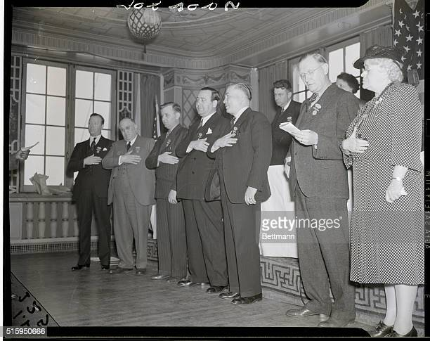 5/9/1940Atlantic City NJ New officers of the Building Service Employees' International Union are shown taking their oaths of office after they were...