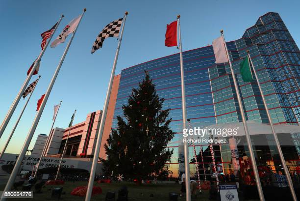 A 59foot Douglas fir waits to be lit before the Speedway Children's CharitiesTexas Chapter Grant Ceremony and Tree Lighting at Texas Motor Speedway...