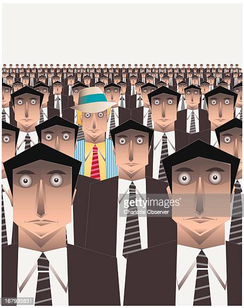 59p x 75p George Breisacher color illustration of a colorfully dressed man with fedora standing out in crowd of cloned businessmen in dark suits