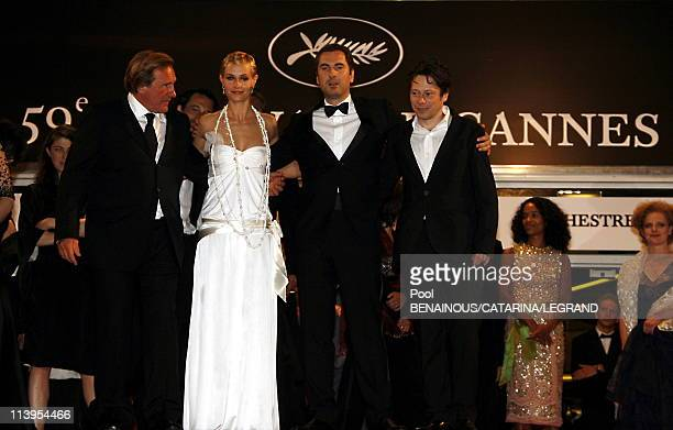 59th Cannes Film Festival End of the screening of Quand j'etais chanteur in Cannes France on May 26 2006Actress Cecile de France and actor Gerard...