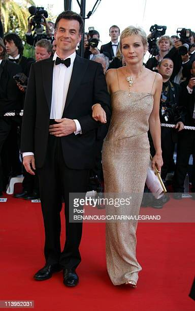 """59th Cannes Film Festival: Stairs of """"Marie Antoinette"""" in Cannes, France on May 24, 2006-Bruno Gassio and Melita Toscan du Plantier."""