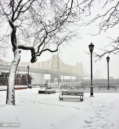59th Street Bridge in snow, New York, America, USA
