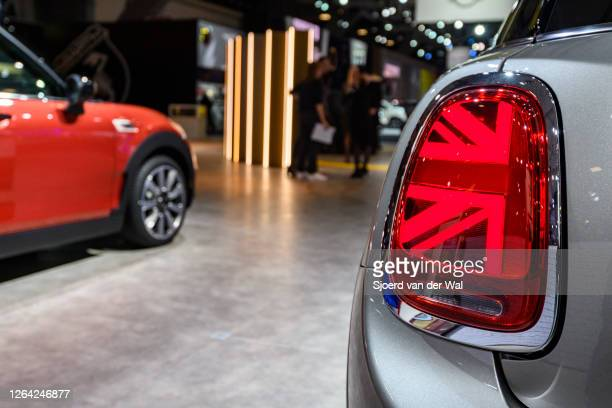 Door compact retro design car on display at Brussels Expo on January 9, 2020 in Brussels, Belgium. The Mini is fitted with rear lights that mimic the...