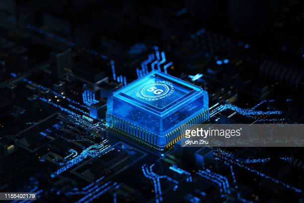 5g chip ,3d render - cpu stock pictures, royalty-free photos & images