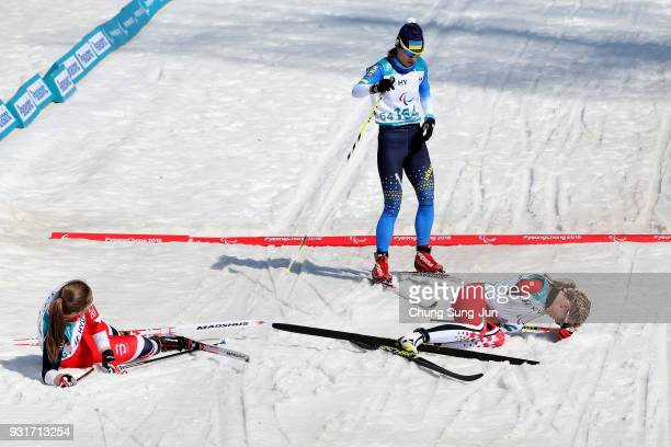 Emily Young of Canada reacts after the CrossCountry Skiing Women 15km Sprint Classic Final Standing on day five of the PyeongChang 2018 Paralympic...