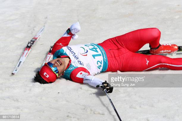 Yoshihiro Nitta of Japan reacts after the CrossCountry Skiing Men 15km Sprint Classic Final Standing on day five of the PyeongChang 2018 Paralympic...