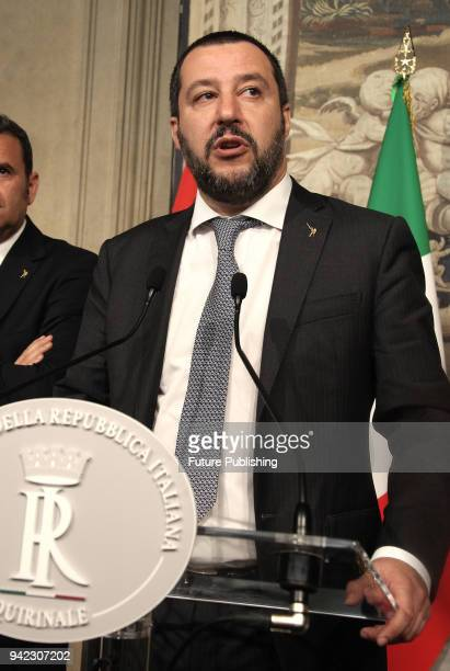 League party leader Matteo Salvini speaks to the media during the second day of consultations with Italian President Sergio Mattarella at the...