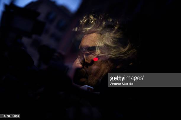 Star Movement leader Beppe Grillo speaks with journalists before registered the official symbol and political program for the upcoming political...