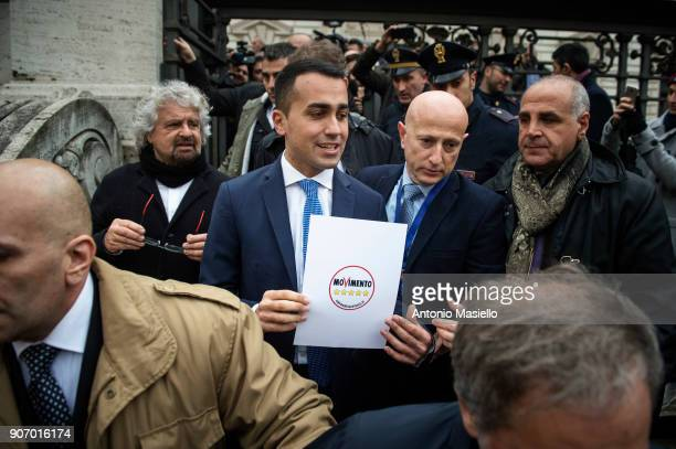 Star Movement leader Luigi Di Maio shows the official symbol and political program for the upcoming political elections in Rome Italy on January 19...