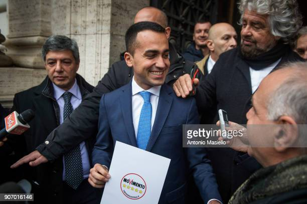 Star Movement leaders Beppe Grillo and Luigi Di Maio show the official symbol and political program for the upcoming political elections in Rome...