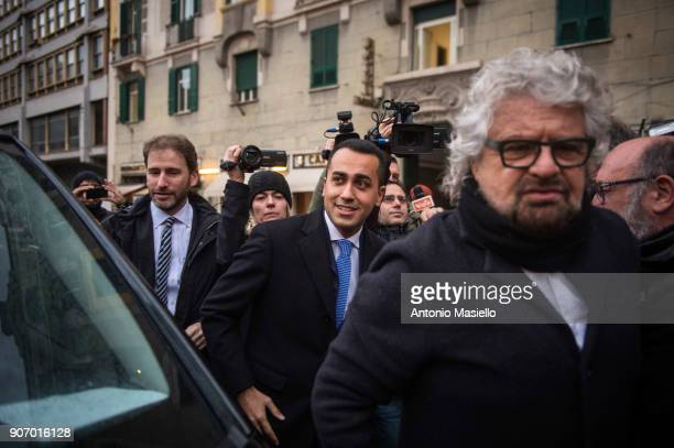 Star Movement leaders Beppe Grillo Luigi Di Maio and Davide Casaleggio speak with journalists before registered the official symbol and political...