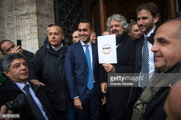 Star Movement leaders Davide Casaleggio Beppe Grillo and Luigi Di Maio show the official symbol and political program for the upcoming political...