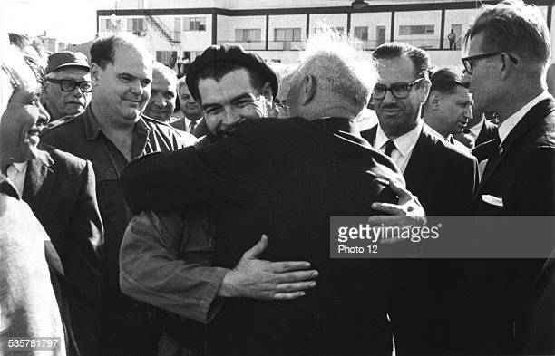 5th anniversary of the Cuban Revolution The leader of the Soviet delegation NV Podgornyi embraces the Minister of Industry Ernesto Che Guevara Around...