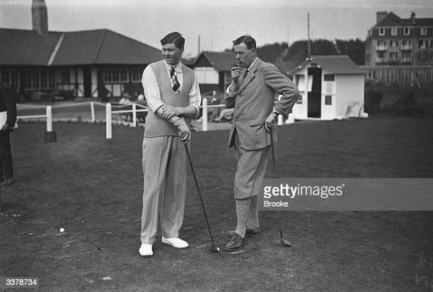 Colonel Charles Nicholl and A P F Chapman about to tee off at the first hole whilst on holiday at the fashionable resort of Le Touquet France