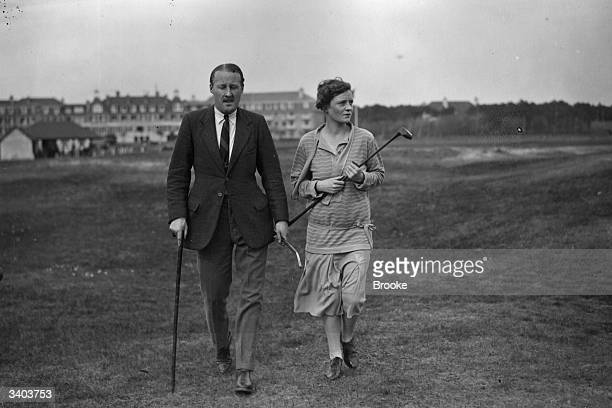 Mr And Mrs E H Tattersall on the golf course at Le Touquet during their Easter holiday