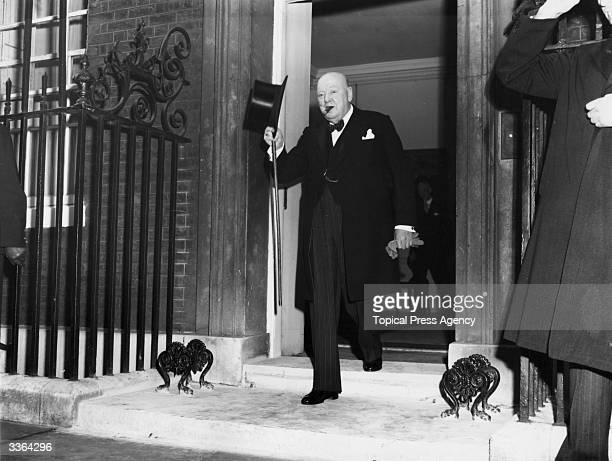 British prime minister Sir WInston Churchill leaves his residence at Number 10 Downing Street London to visit Queen Elizabeth II and tender his...