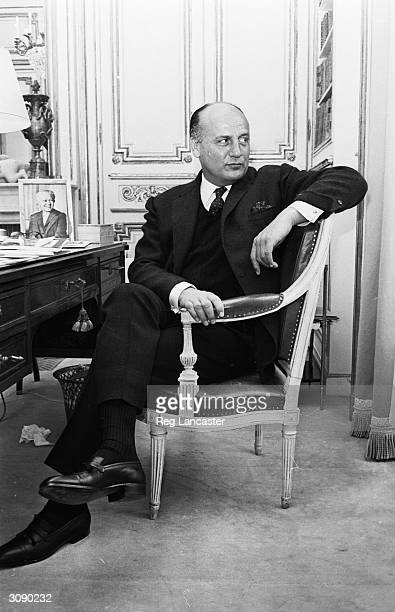 French fashion designer Pierre Balmain in his Parisian fashion house