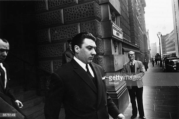 Ronnie Kray leaving court after release from a menaces charge