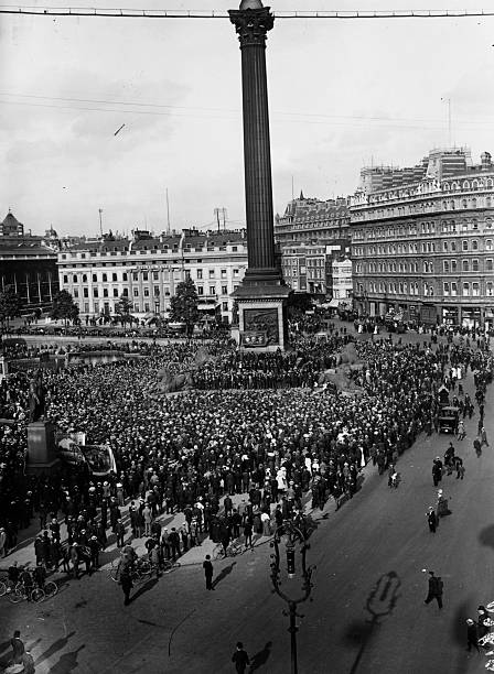 A crowd of dock strikers in Trafalgar Square, London....