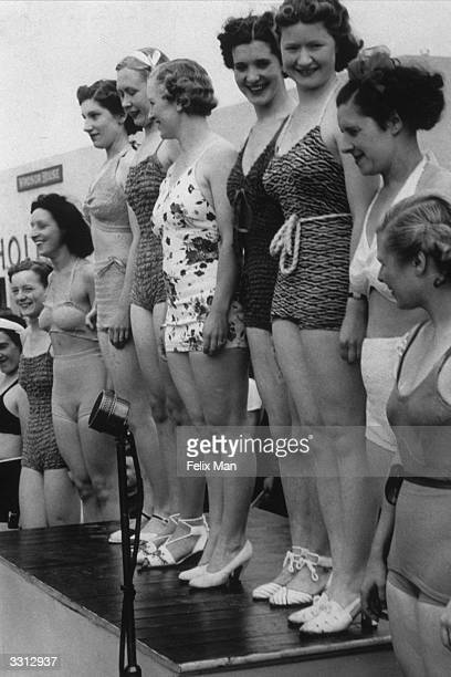 Contestants in a Butlin's Holiday Camp beauty contest in Skegness Original Publication Picture Post 193 Holiday Camp pub 1939