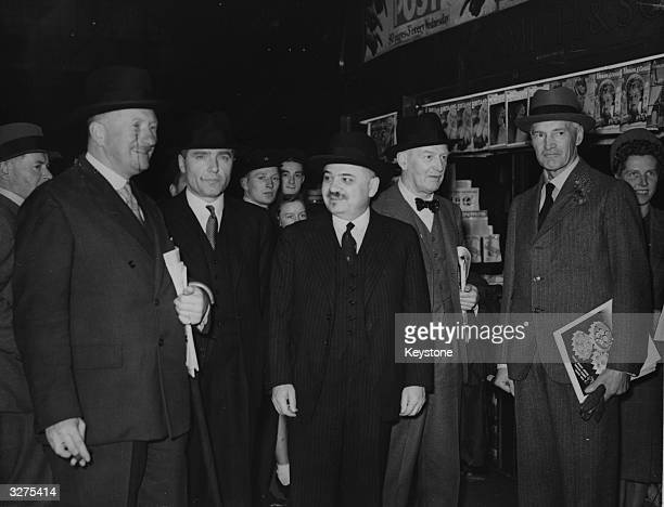The Russian Ambassador to Britain Ivan Mikhailovich Maisky centre with General Heywood the Soviet Air attache Admiral Sir Reginald PlunketErnleDrax...