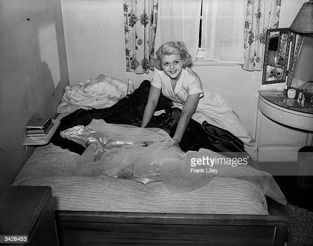 English actress Angela Lansbury with her trousseau