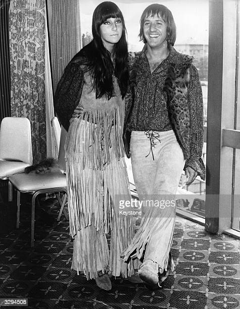American pop singing duo Sonny and Cher who are in Britain to promote their hit singles with television and radio appearances
