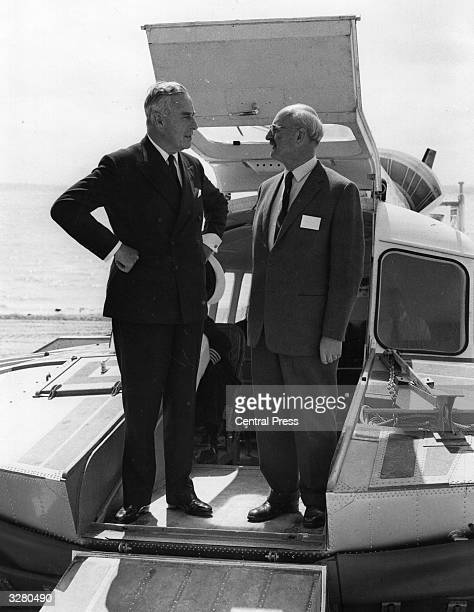 Lord Mountbatten Earl of Burma at the opening of a new hovercraft service across the Solent at Gosport The designer of the hovercraft service...