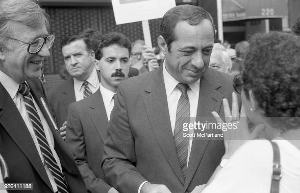 New York Governor Mario Cuomo talks with a voter on the streets of New York City about his Bond Issue proposal This proposal will ask voters to give...