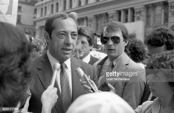 New York Governor Mario Cuomo talks with reporters on the streets of New York City Governor Cuomo is pushing the Bond Issue where voters will be...