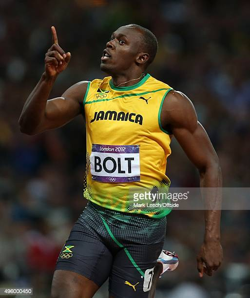 5th August 2012 London 2012 Olympic Games Athletics Men's 100m Final Usain Bolt celebrates victory
