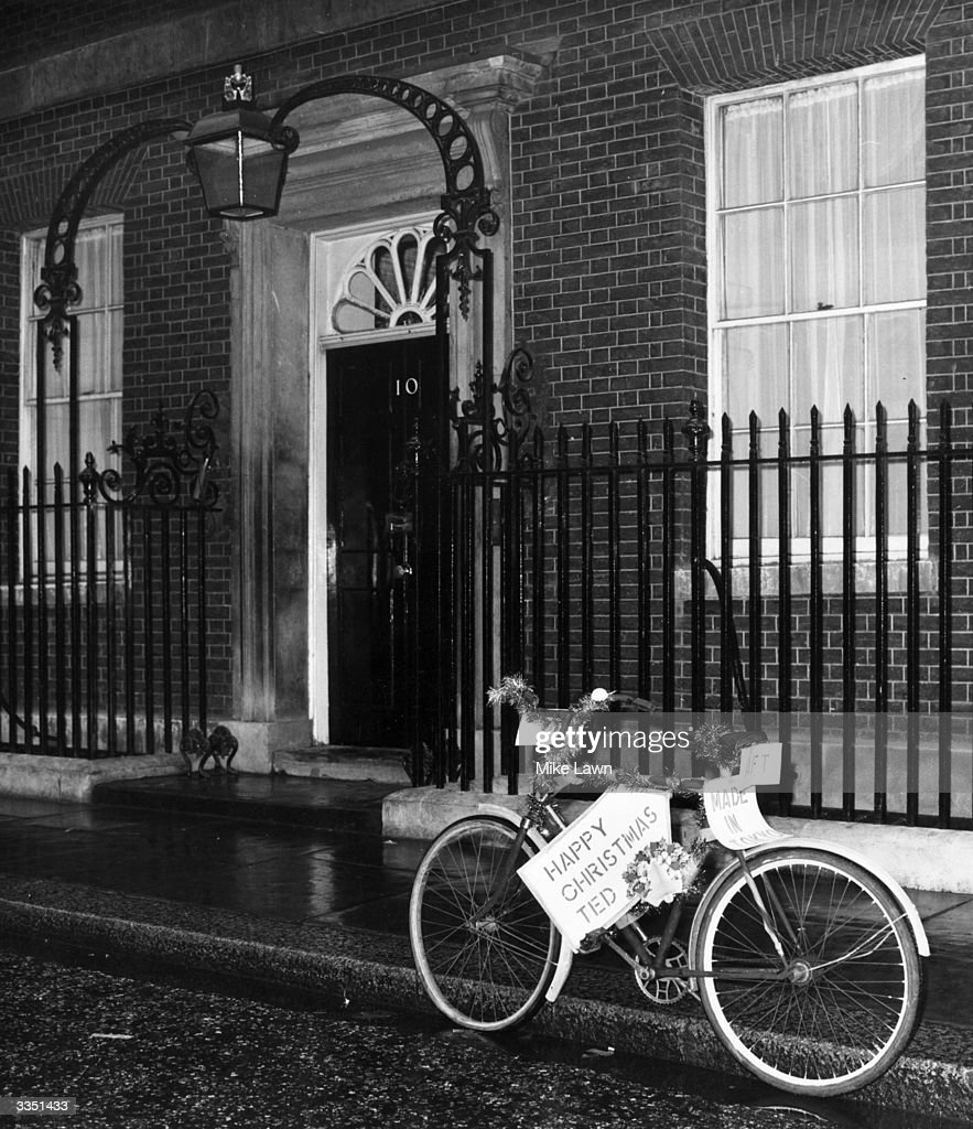 A present for Ted Heath from friends of the Earth, this bike was left outside number 10 Downing Street for the prime minister Edward Heath after he became stuck in traffic and had to walk to an important meeting.