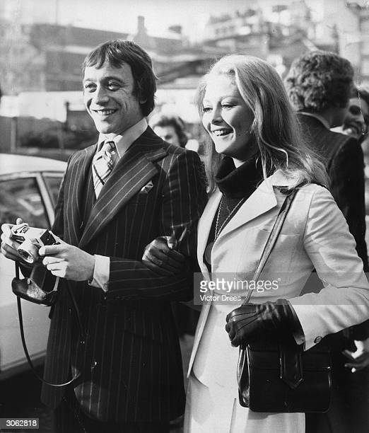 Robin Nedwel the star of 'Doctor In Charge' with the English actress Jenny Hanley at a wedding at Caxton Hall