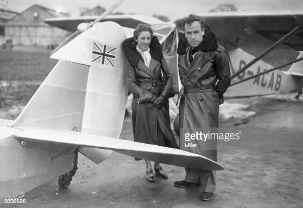 Aviator Jim Mollison with his wife aviatrix Amy Johnson at Stag Lane Aerodrome where Mollison will leave in his plane 'The Heart's Content' in an...
