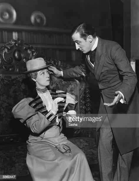 Athene Seyler as Lady Bracknell and George Curzon as Algernon Moncrieff in a scene from Oscar Wilde's 'The Importance Of Being Earnest' at the Old...