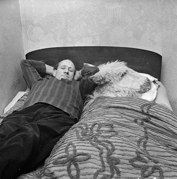 Ron Brewer sharing a bed with one of the donkeys at...