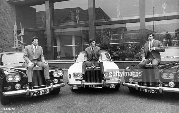 British singers Tom Jones and Engelbert Humperdinck with their manager Gordon Mills sitting on their Rolls Royce motor cars outside ATV Studios in...