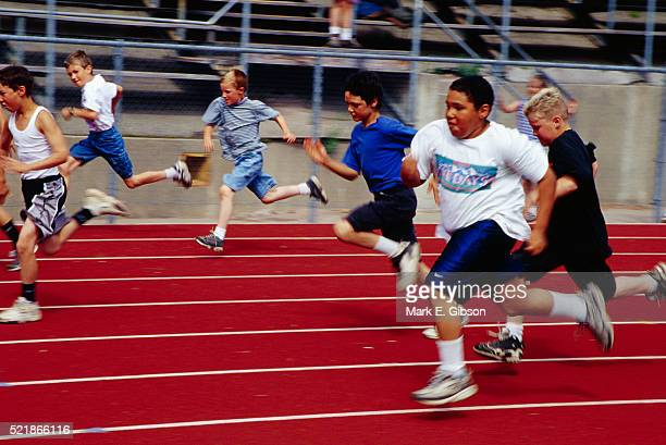 5th Grade Boys in a Track Race